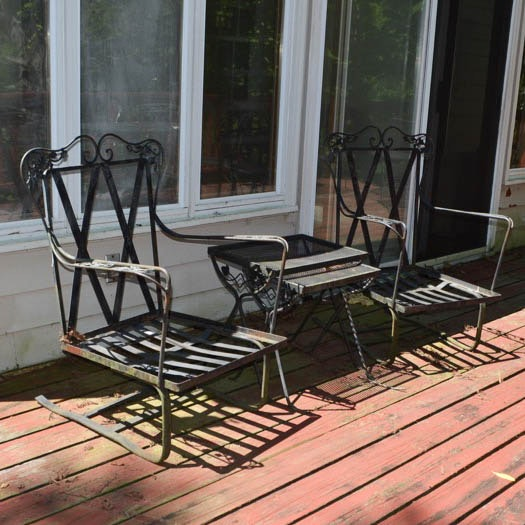 Wrought Iron Spring Chairs and Nesting Tables