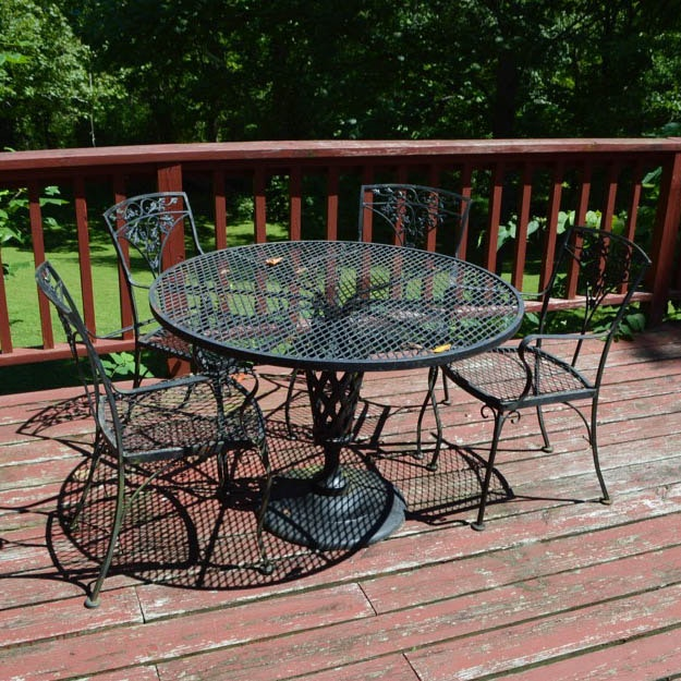 Iron Dining Table and Four Chairs