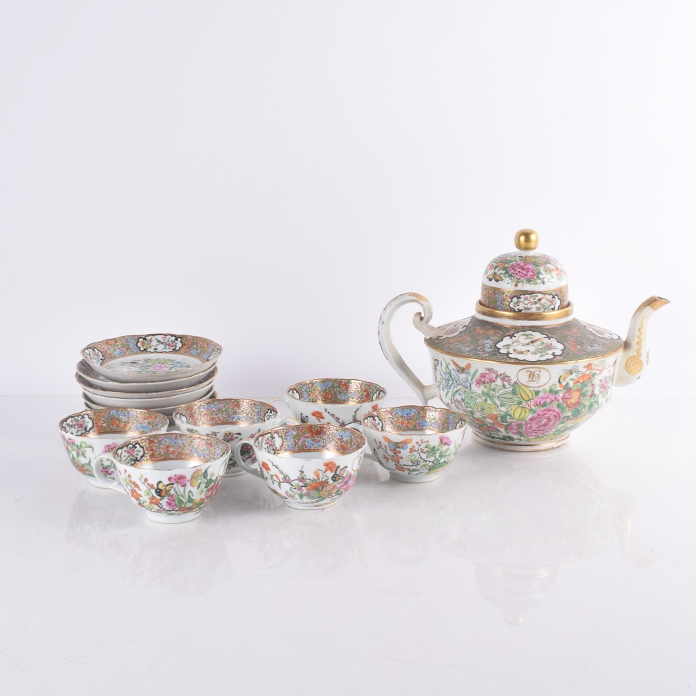 Antique Monogrammed Chinese Export Tea Set