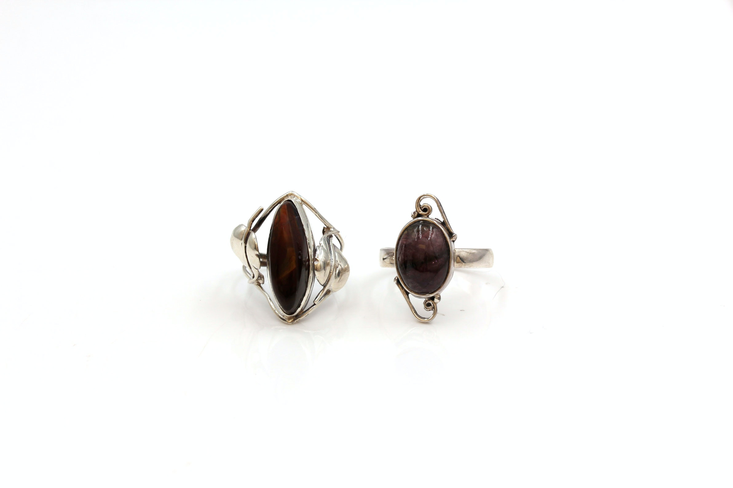 Sterling Silver Fire Agate and Tourmaline Rings