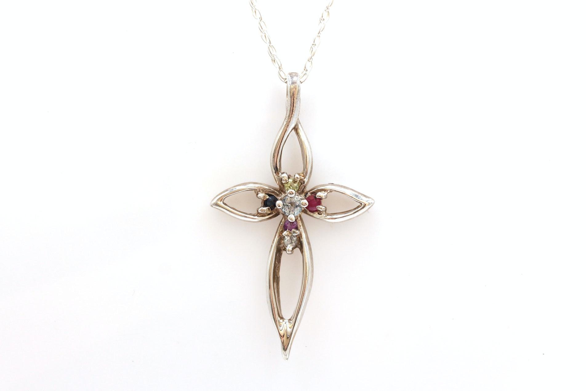 Lenox Sterling Silver Gemstone Cross Pendant Necklace