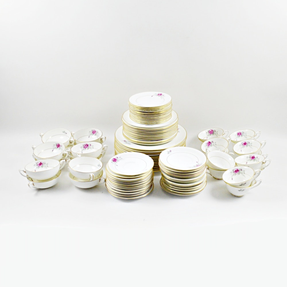 Eighty-Four Piece Royal Worcester Rose China