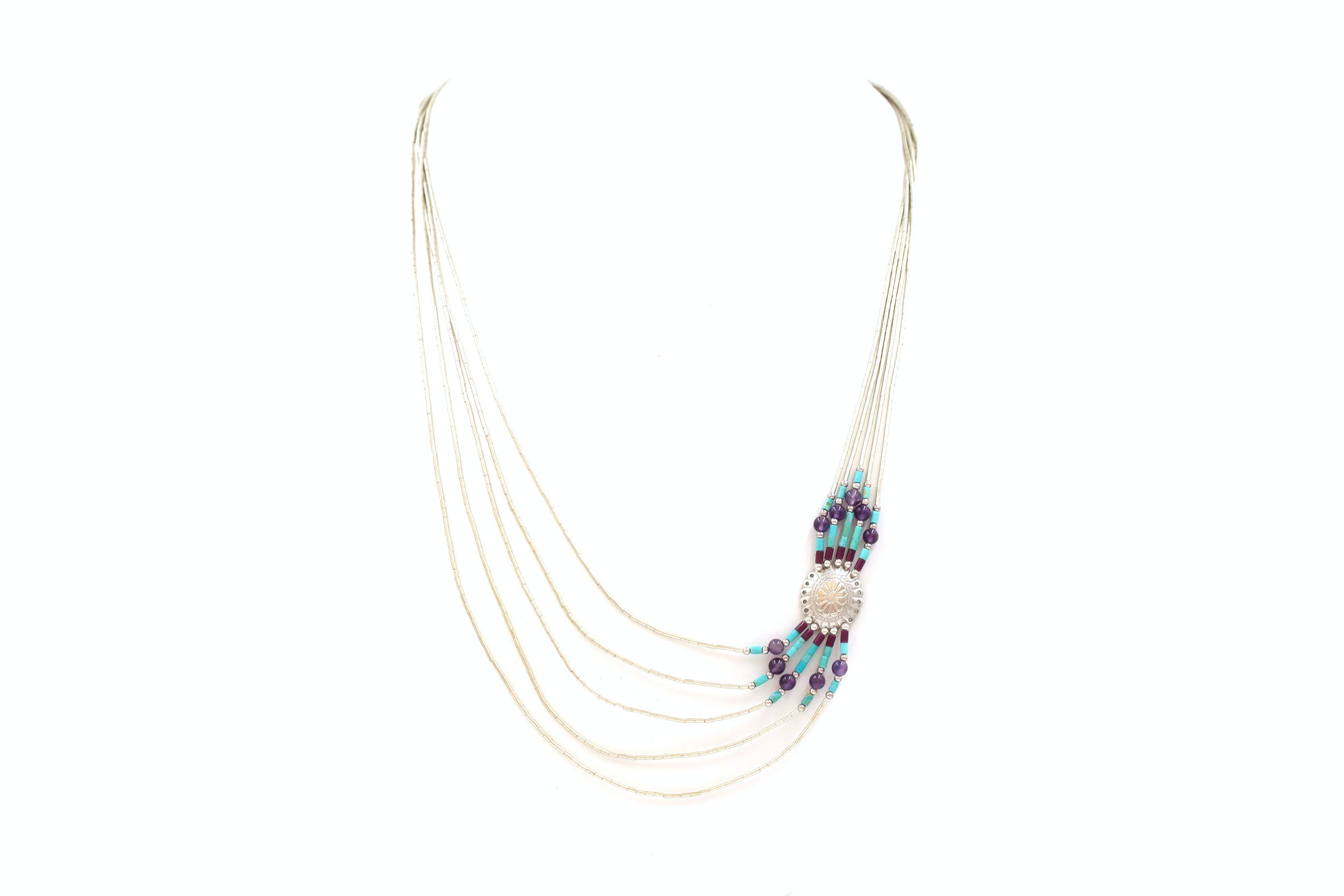 Liquid Sterling Silver Turquoise an Amethyst Necklace