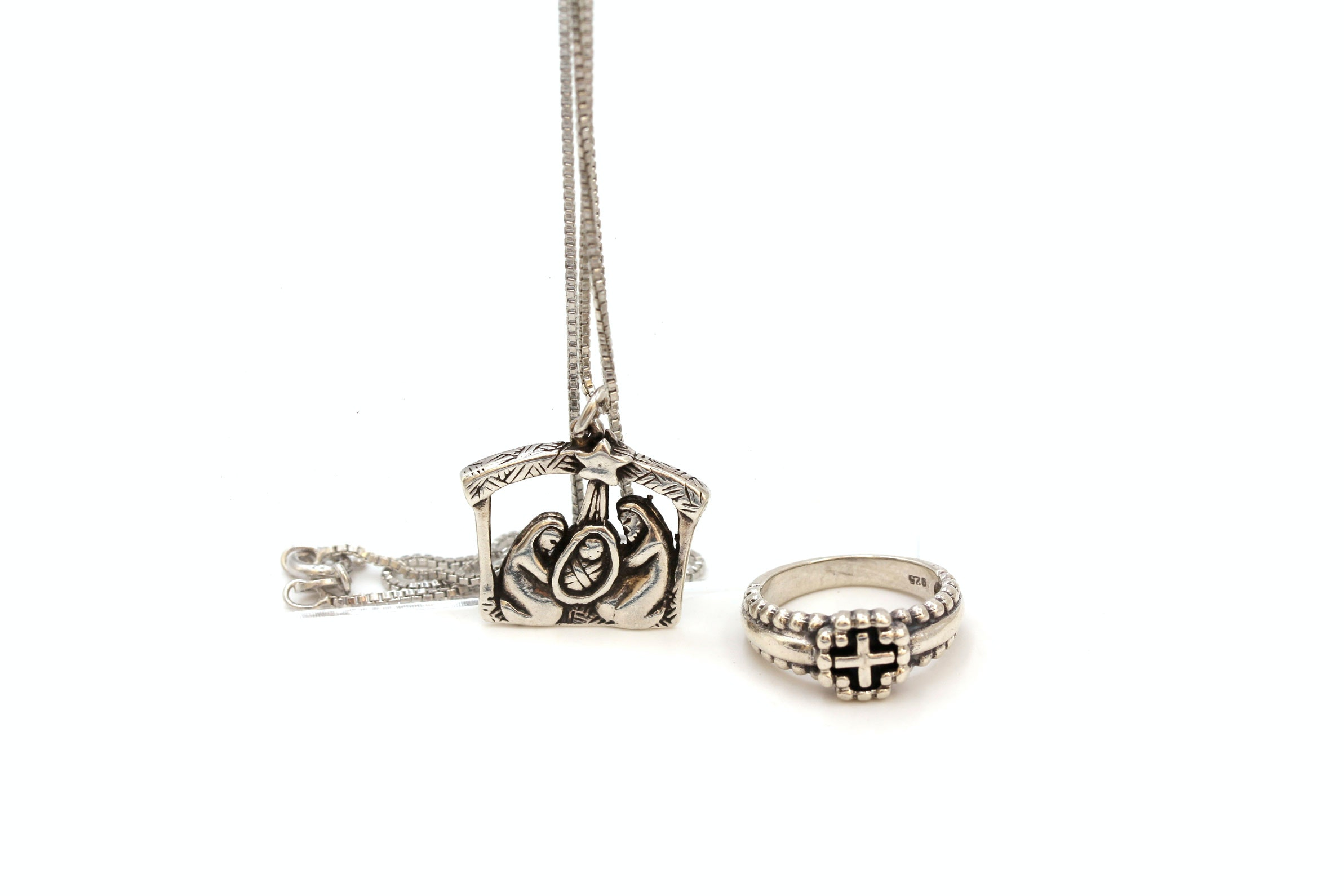 Sterling Silver Nativity Pendant Necklace and Cross Ring