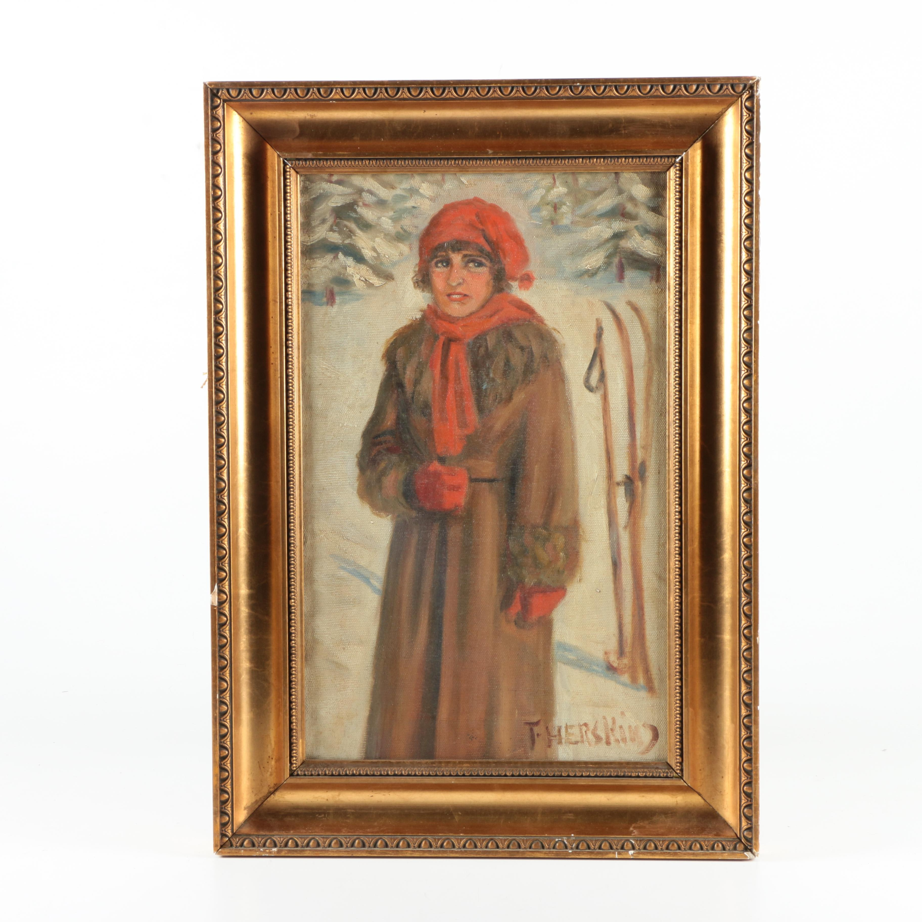 T. Herskind Oil Painting on Canvas of Woman in a Winter Landscape