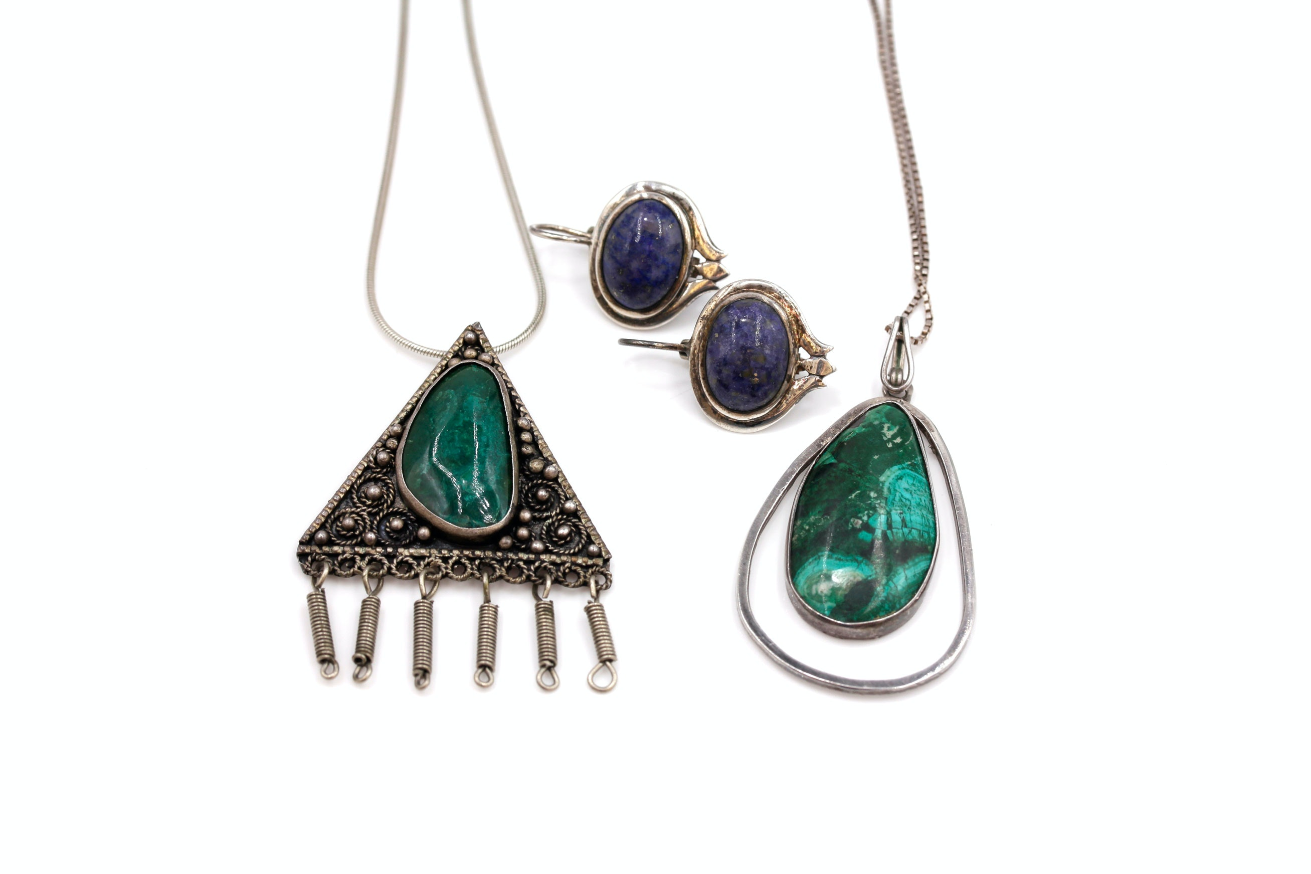 Sterling Silver and Silver Eilat Stone Necklaces and Lapis Lazuli Earrings
