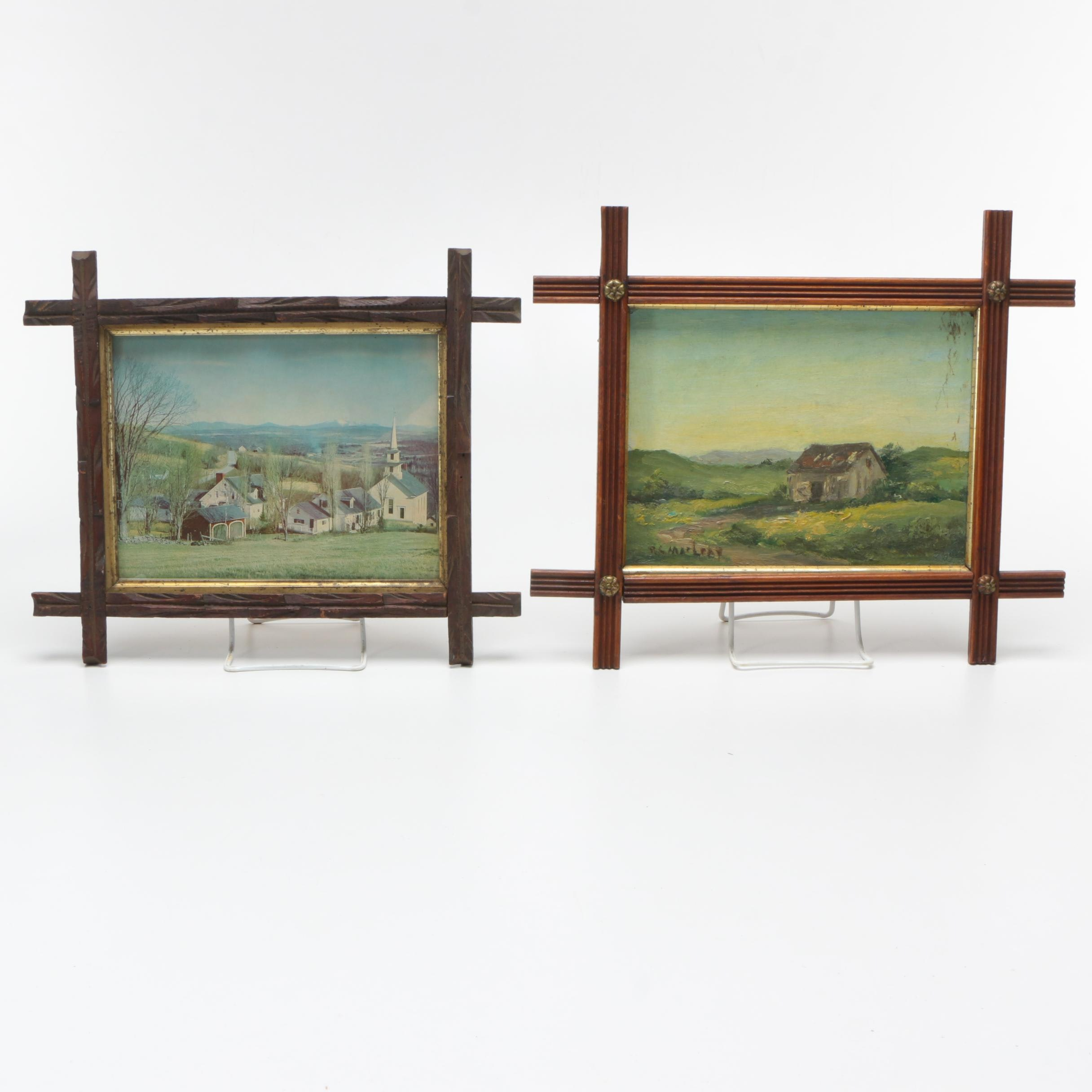 Oil Painting and Offset Lithograph of Idyllic Pastoral Landscapes