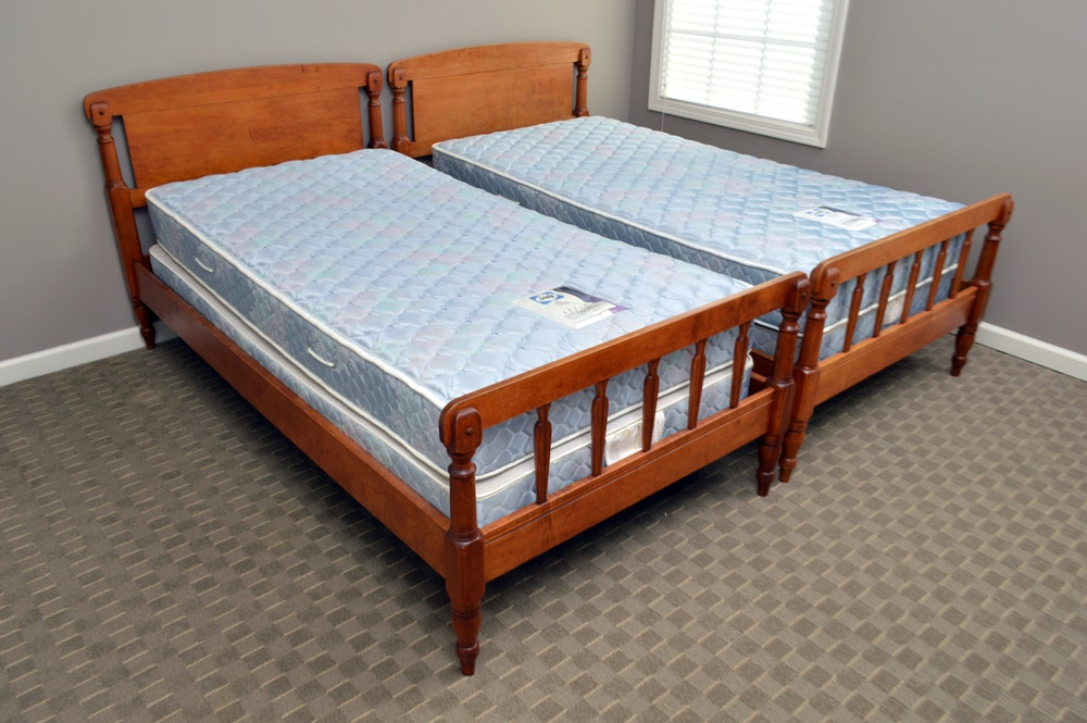 Two Early American Style Cherry Twin Bed Frames