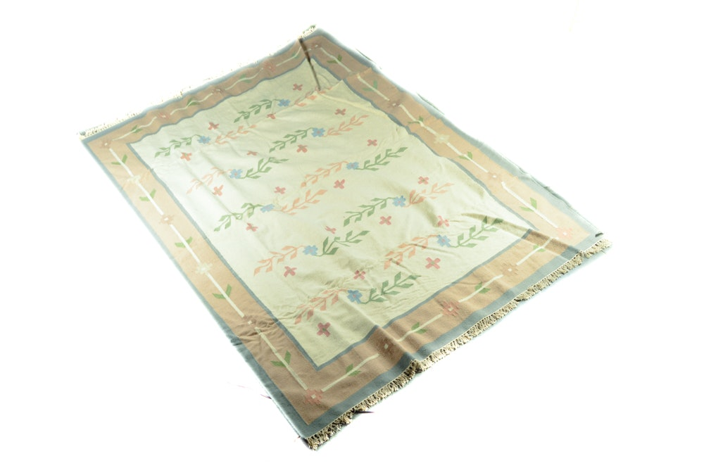 Large Handwoven Wool Floral Dhurrie