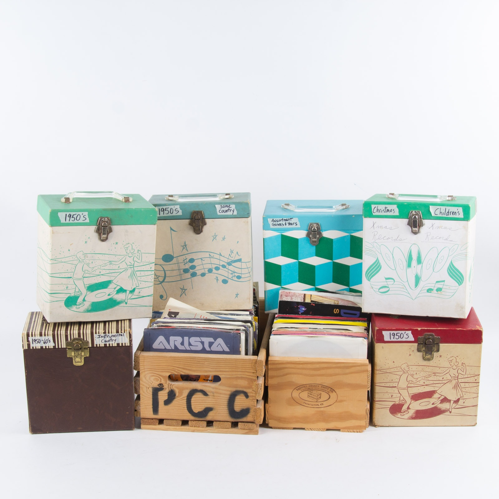 Rock/Pop Singles and Vintage Storage Boxes