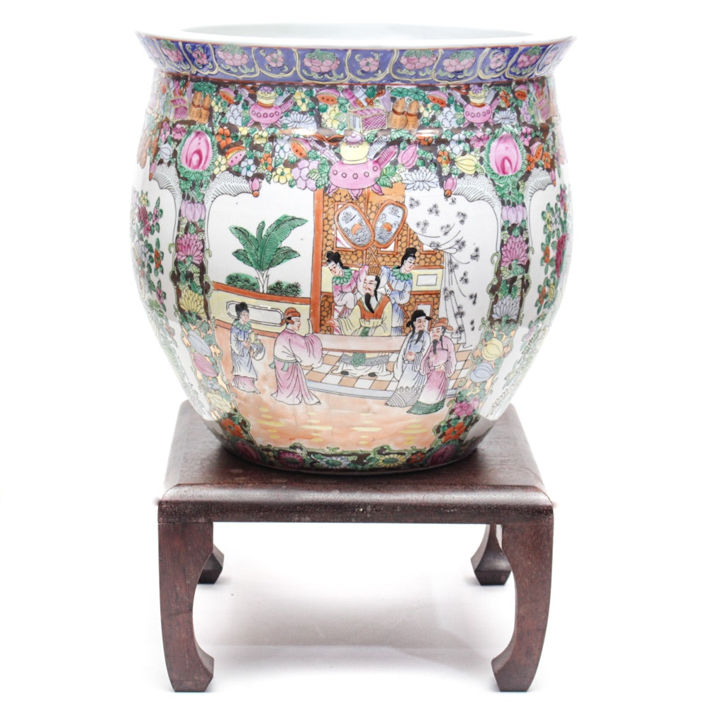Chinese Rose Medallion Ceramic Fishbowl Jardinière