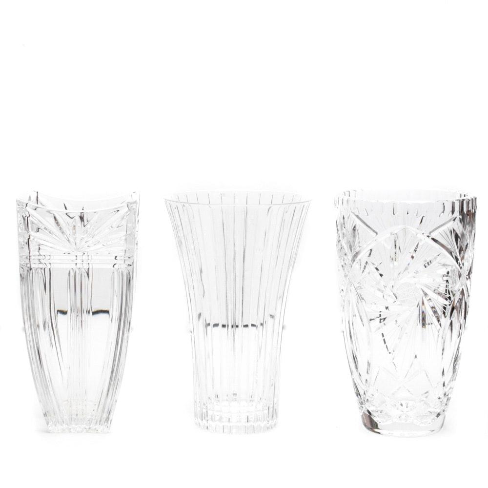 Three Crystal Vases