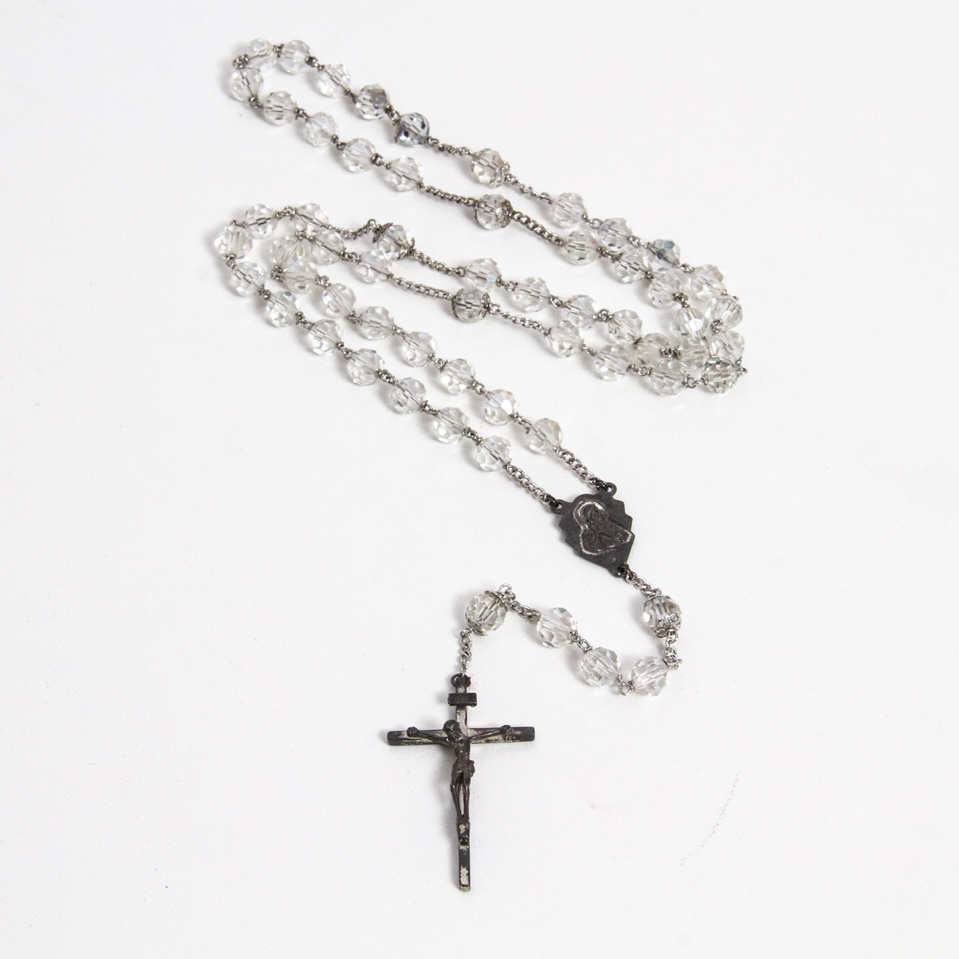 Vintage Sterling Silver and Faceted Glass Beaded Rosary