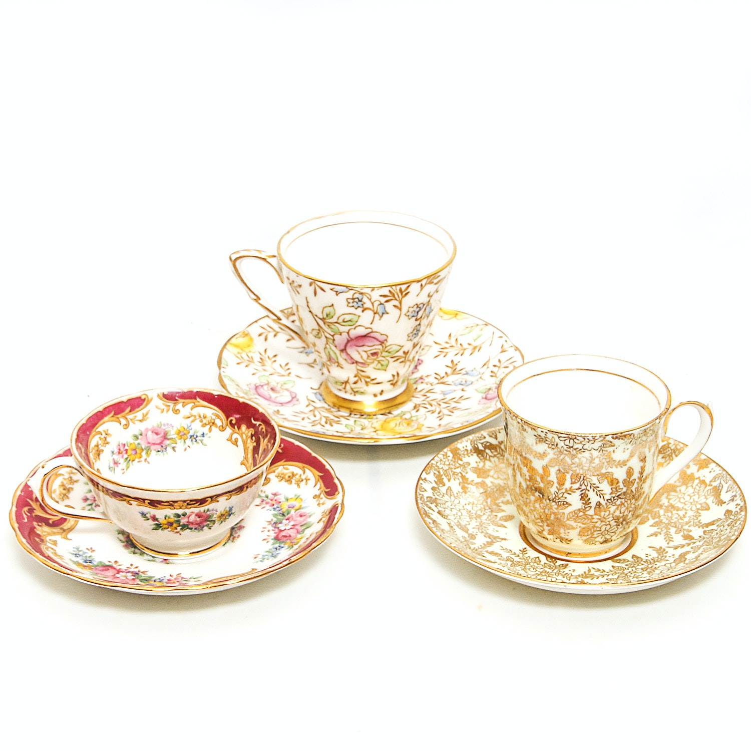 Set of Demitasse China Cups and Saucers