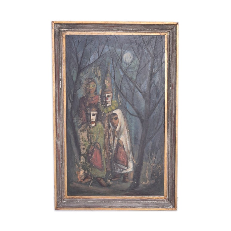 "Framed Oil on Canvas of ""Children in the Woods"""