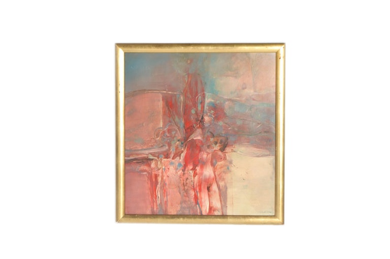Donald Grant Framed Oil on Board of Nude Woman