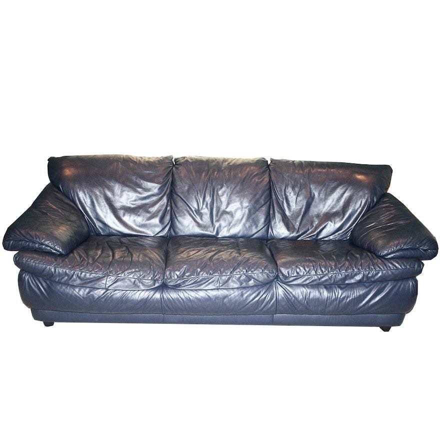 Dark Blue Leather Sofa : EBTH
