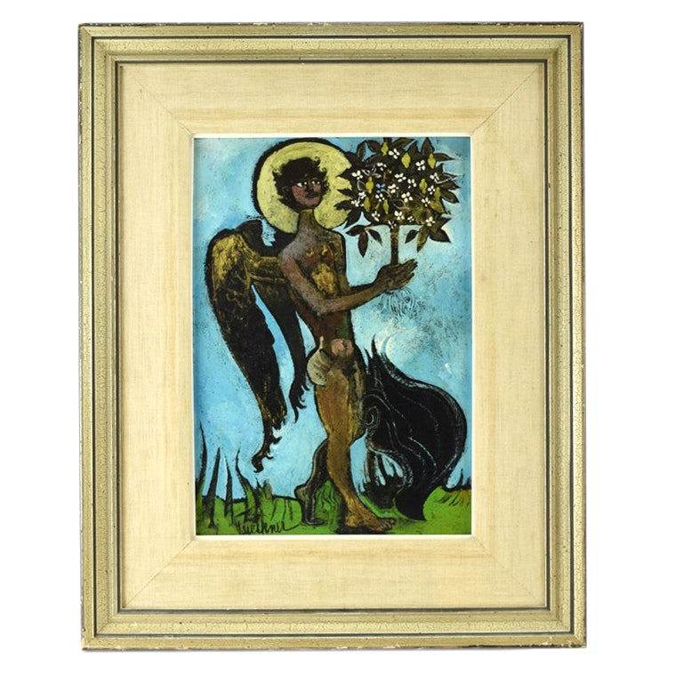 "Henry Faulkner Original Oil Painting ""Sicillian Boy with a Tree for God"""