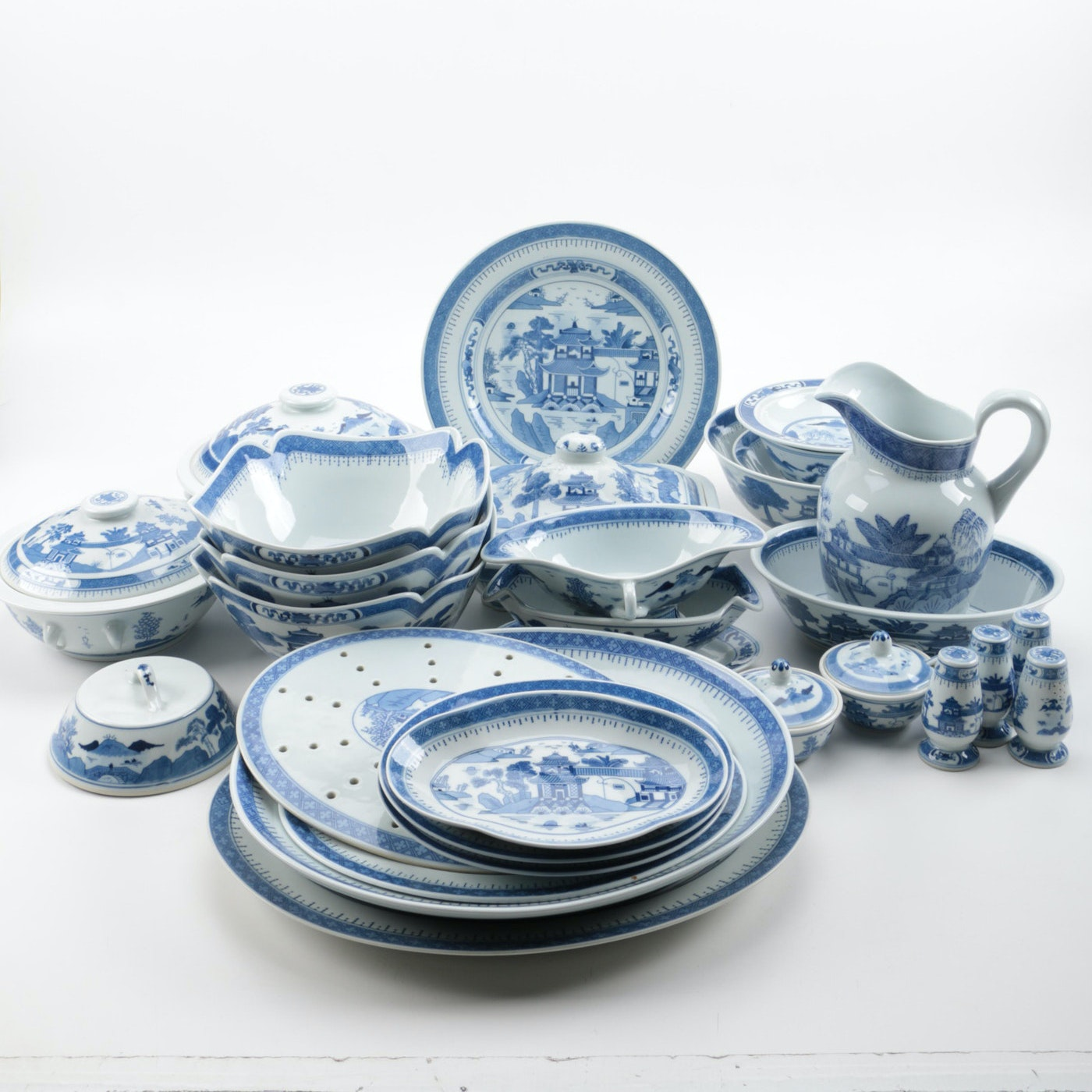 Collection of Blue and White Chinese Serveware