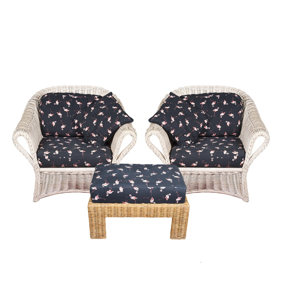 Rattan Club Chairs and Wicker Ottoman