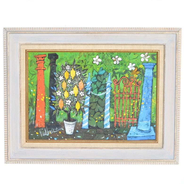 "Henry Faulkner Framed Acrylic on Board ""Color Filled Garden"""