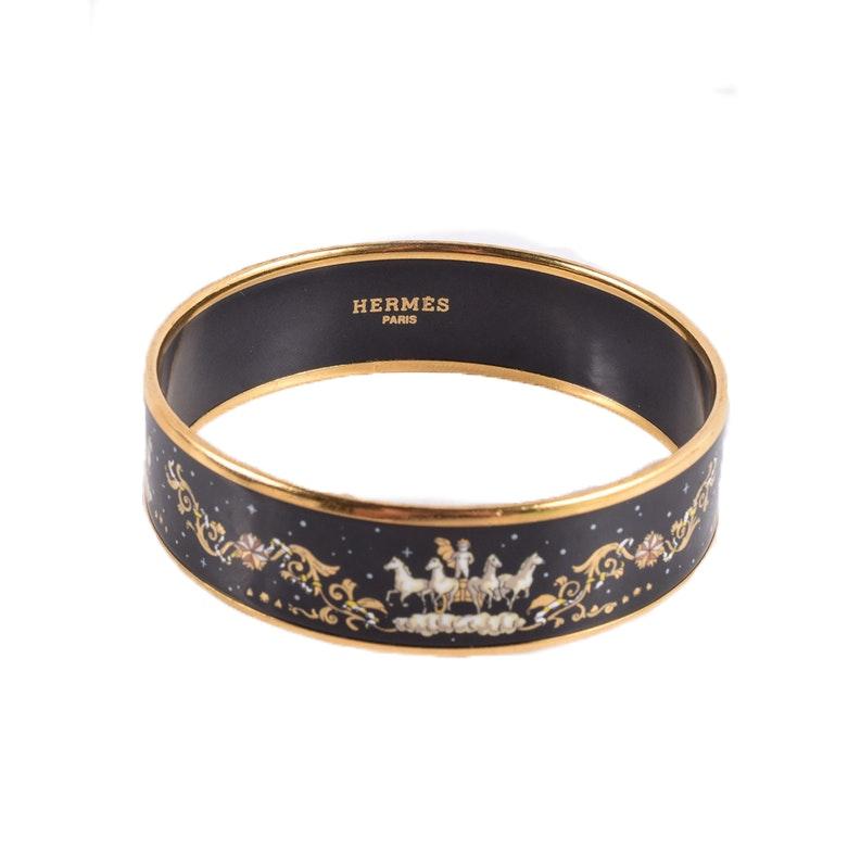 "Hermès Black Enamel Bangle Bracelet ""Cosmo Chariot"""