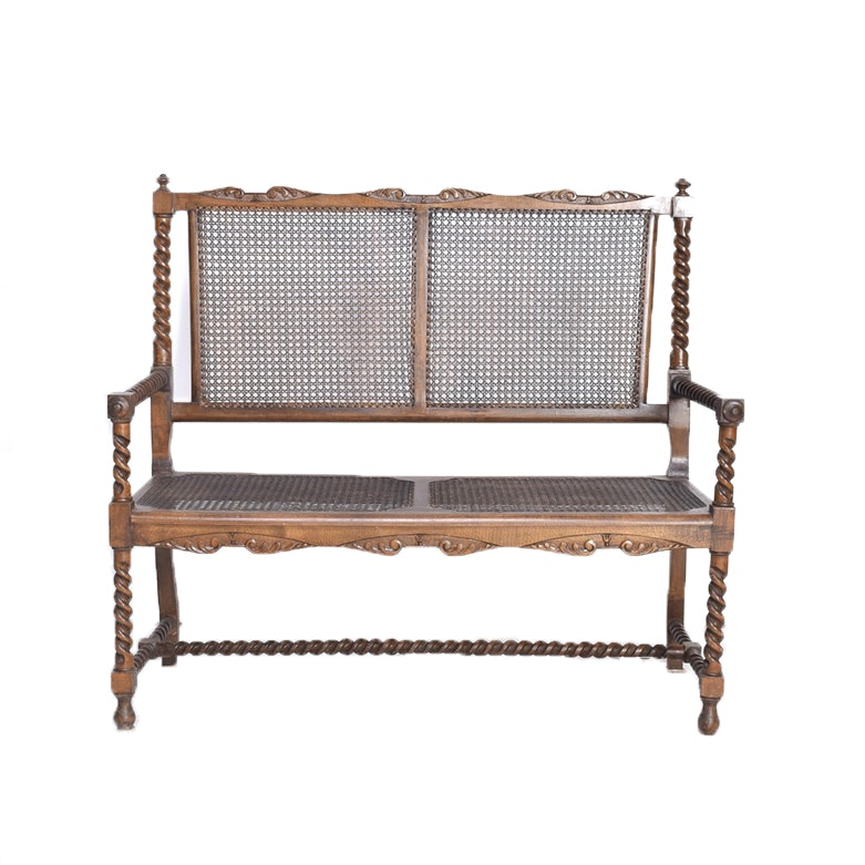Jacobean Style Wood And Cane Settee ...