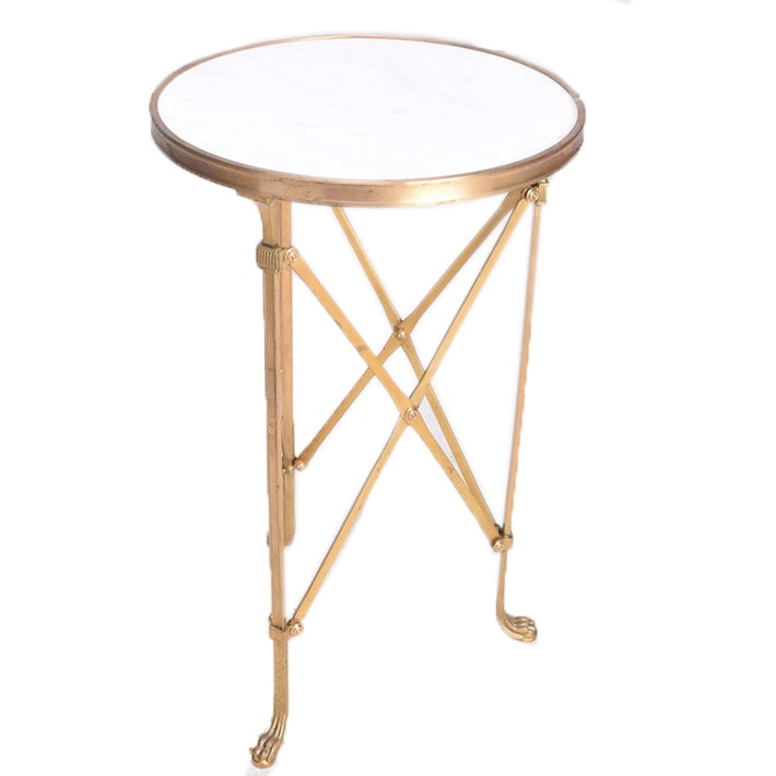 Round Metal Accent Table with Marble Top
