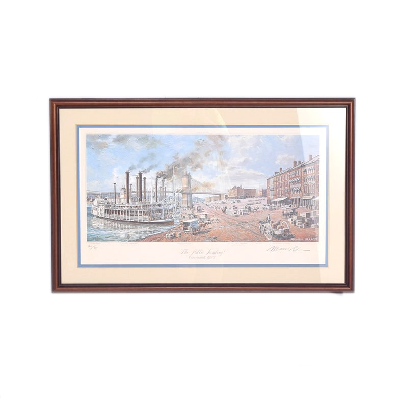 "Michael Blaser Framed Limited Edition Offset Lithograph ""The Public Landing: Cincinnati 1875"""