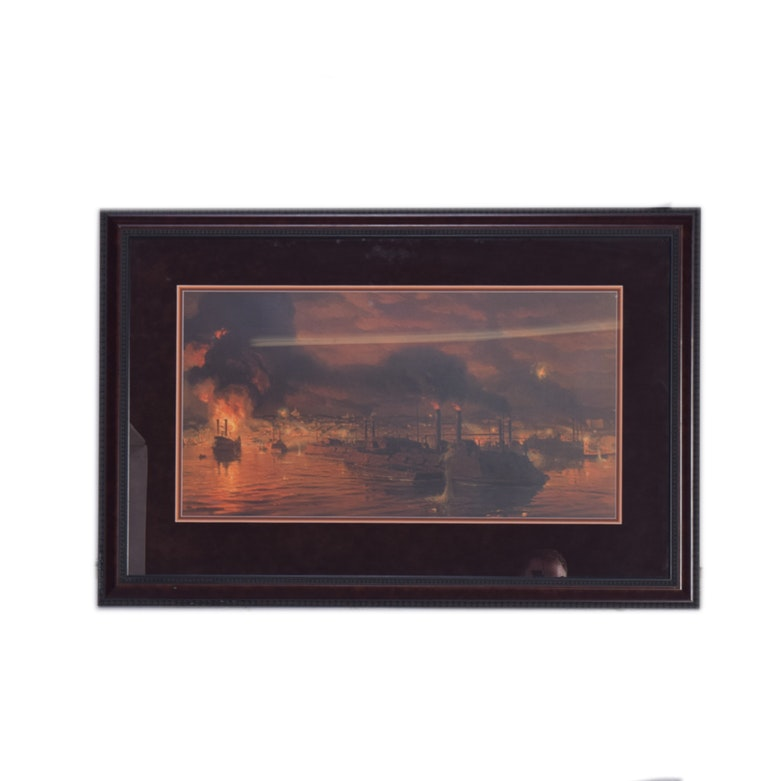 "Tom Lovell Framed Limited Edition Offset Lithograph ""The Union Fleet Passing Vicksburg"""