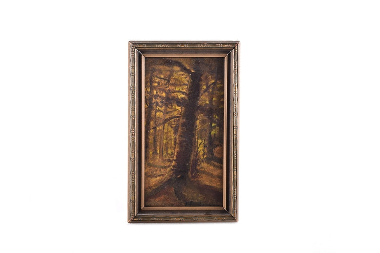 Framed Oil on Board of Trees Attributed to Harvey Joiner