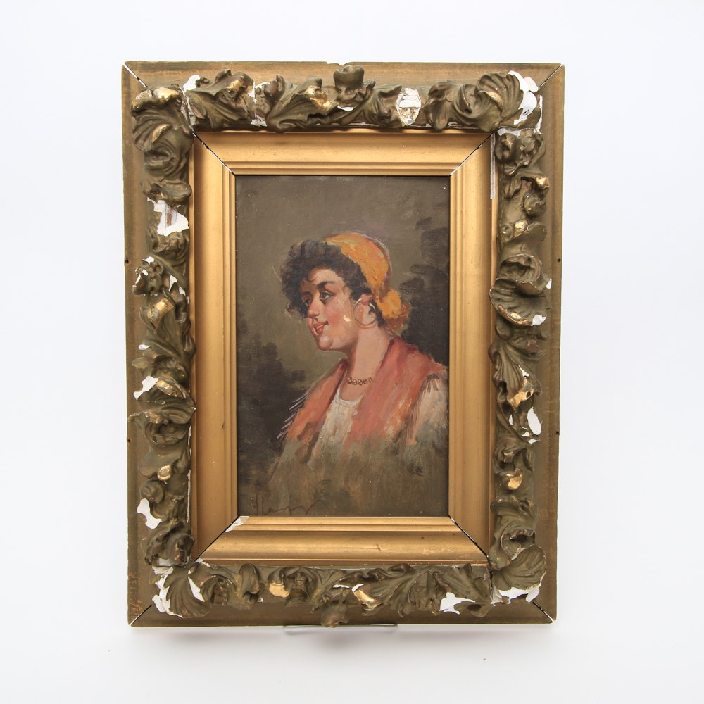 Antique Oil Painting on Academy Board of a Gypsy Woman