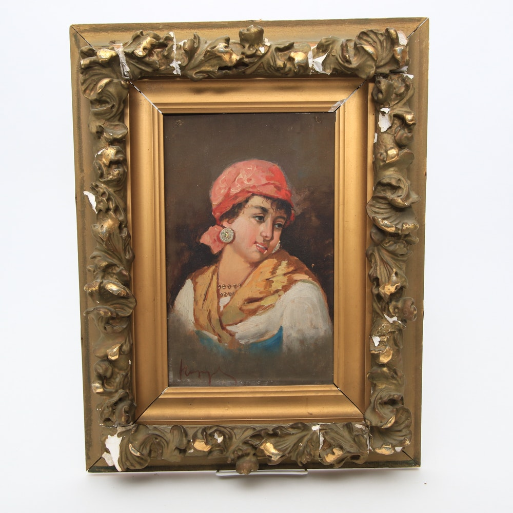 Antique Oil Painting on Canvas of a Gypsy Woman