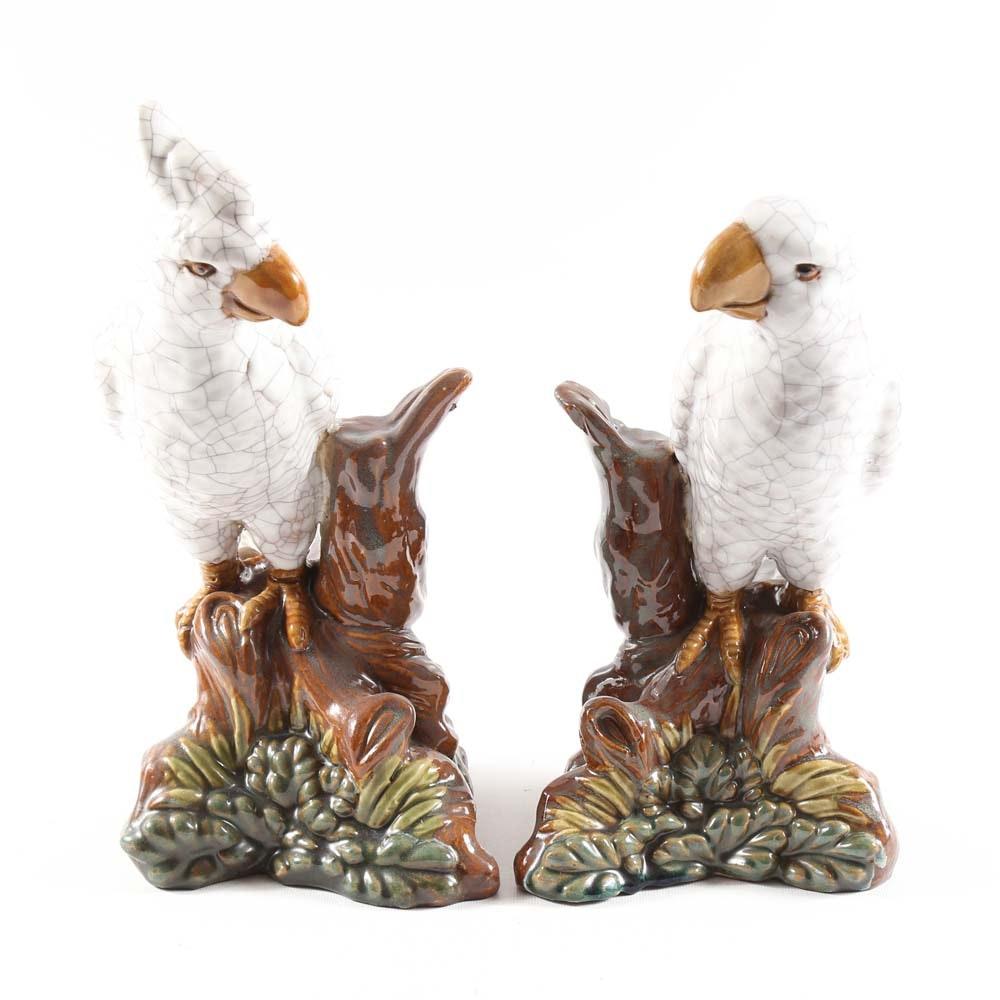 Pair of Ceramic Macaw Figurines