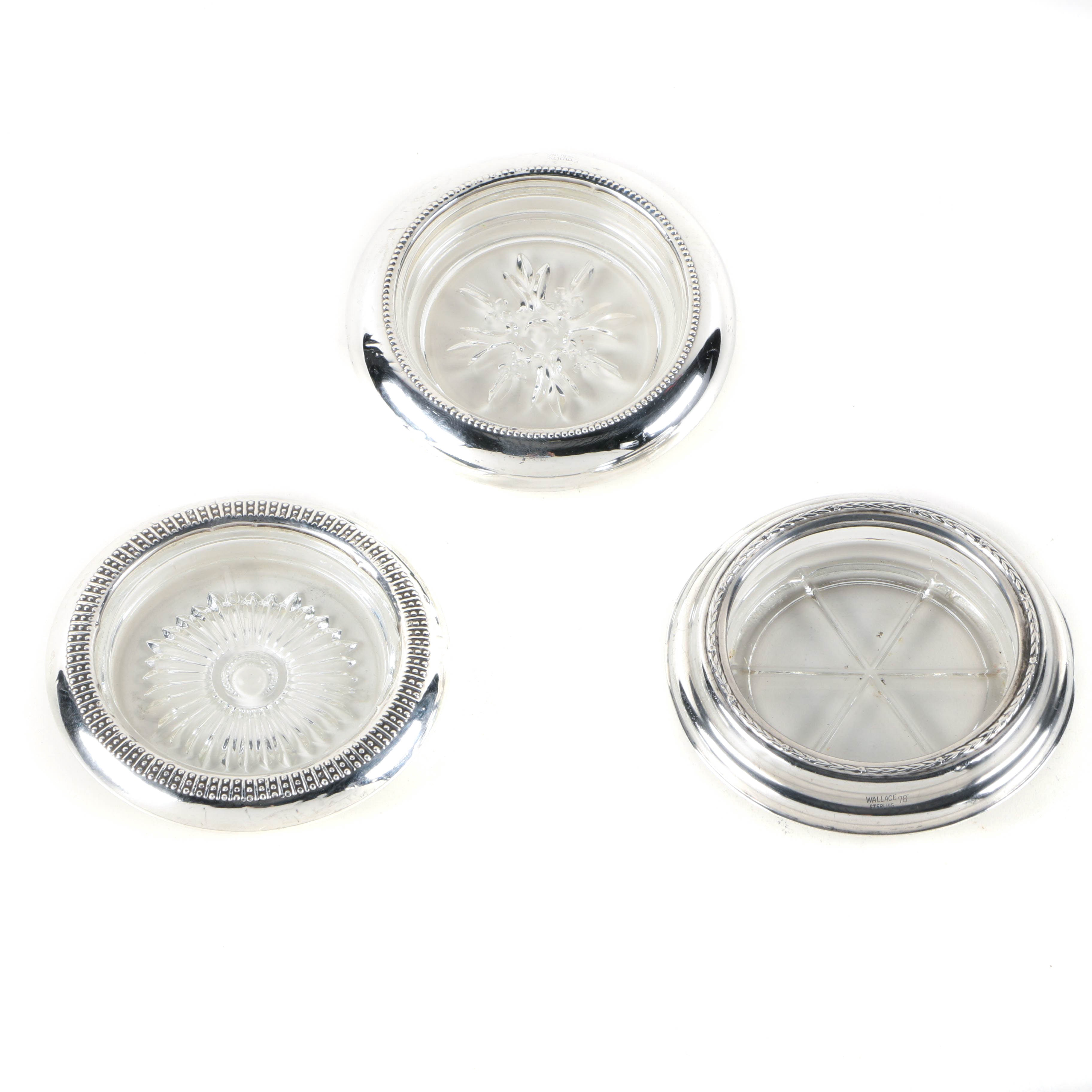 Sterling Silver Rimmed Glass Coasters Featuring Wallace