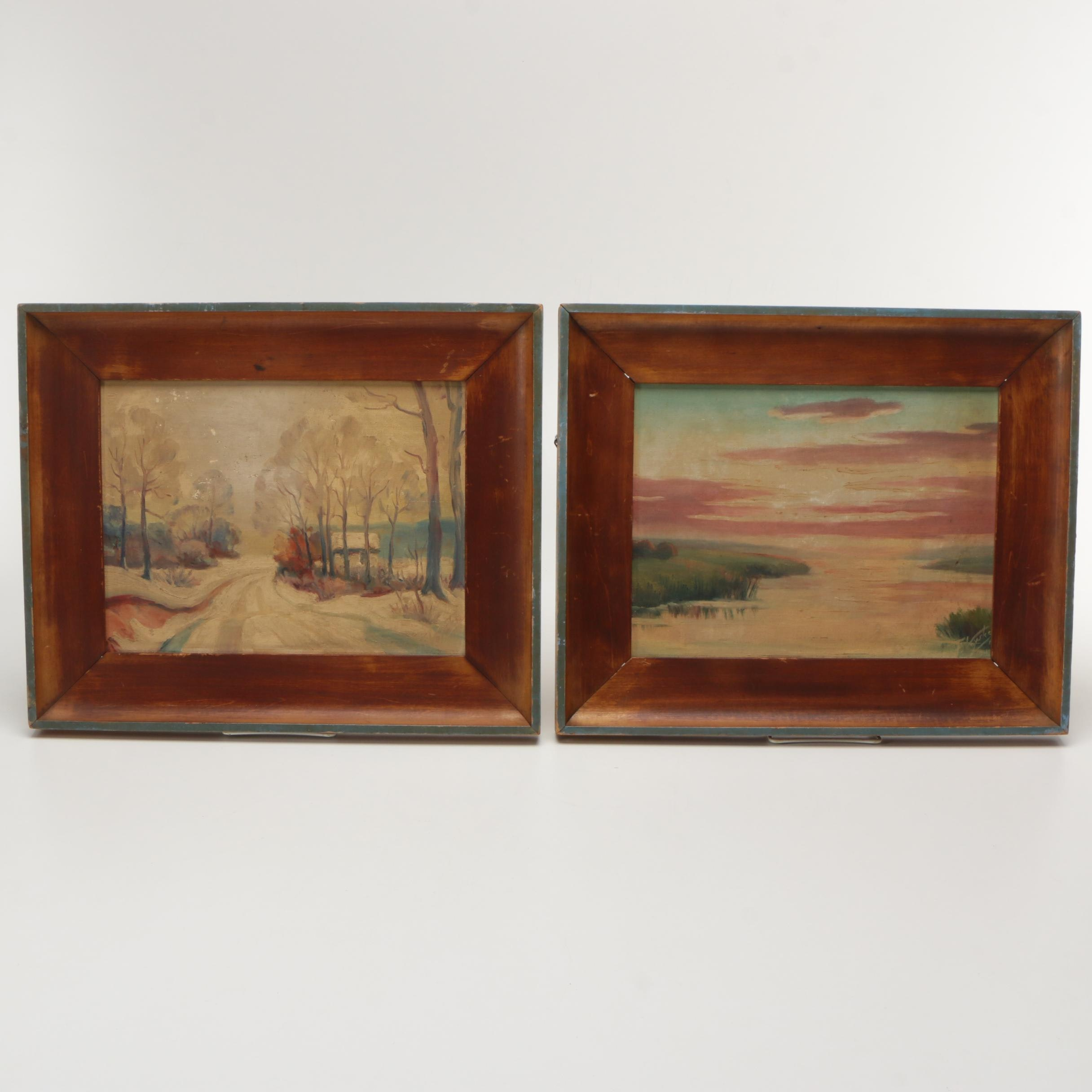 Pair of Frank Voyska Oil Paintings on Canvas Board of Landscapes