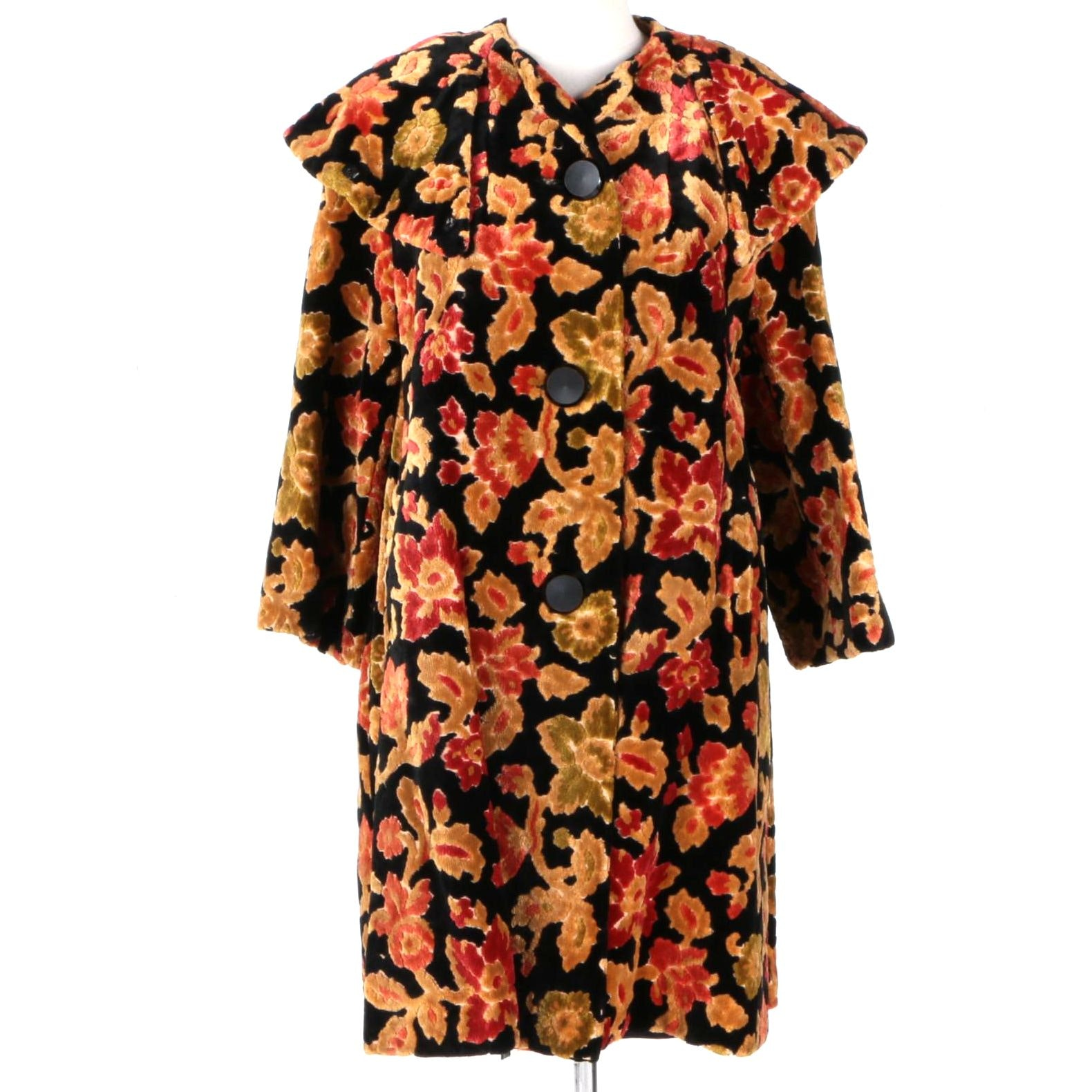 Women's Vintage Jacquard Velvet Burnout Coat