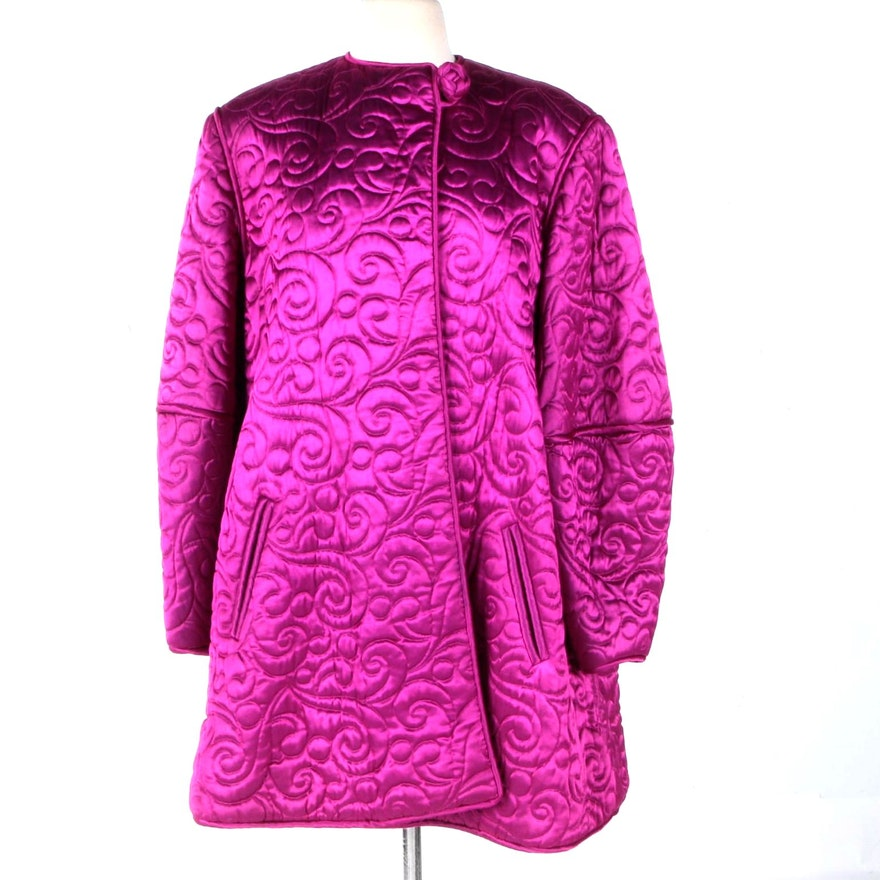 172dc4d8ae Joan Raines Quilted Fuchsia Women s Dress Coat   EBTH
