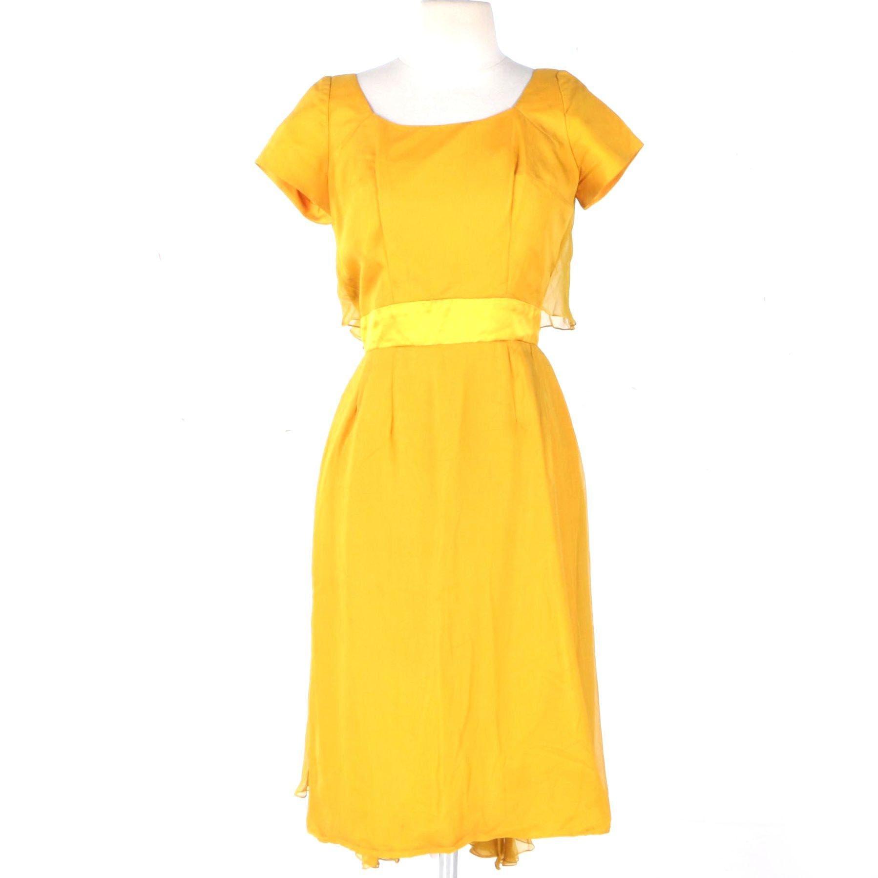 1950s Mustard Yellow Chiffon Cocktail Dress