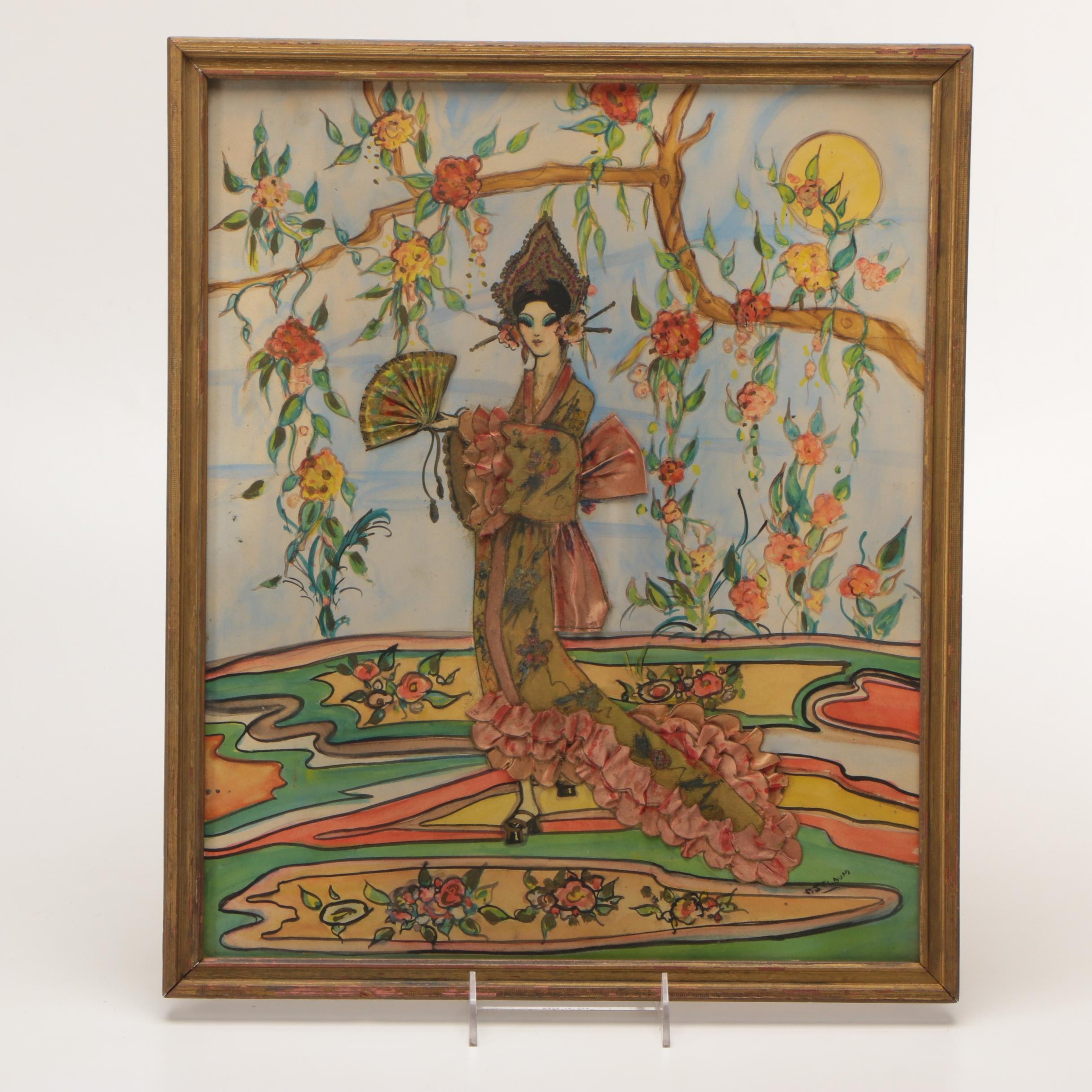 Southeast Asian Style Mixed Media Painting of Woman