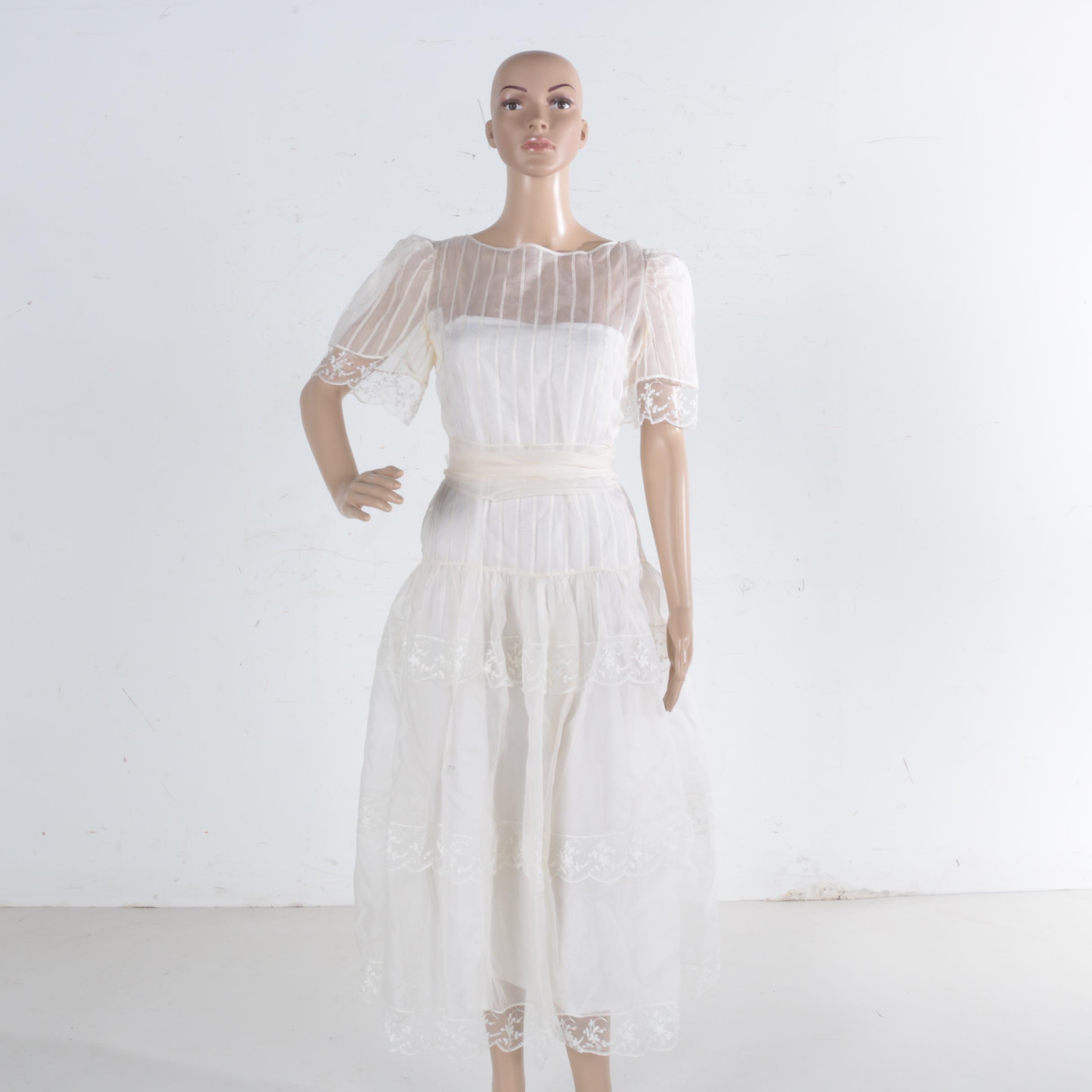 Organza White Wedding Dress With Slip