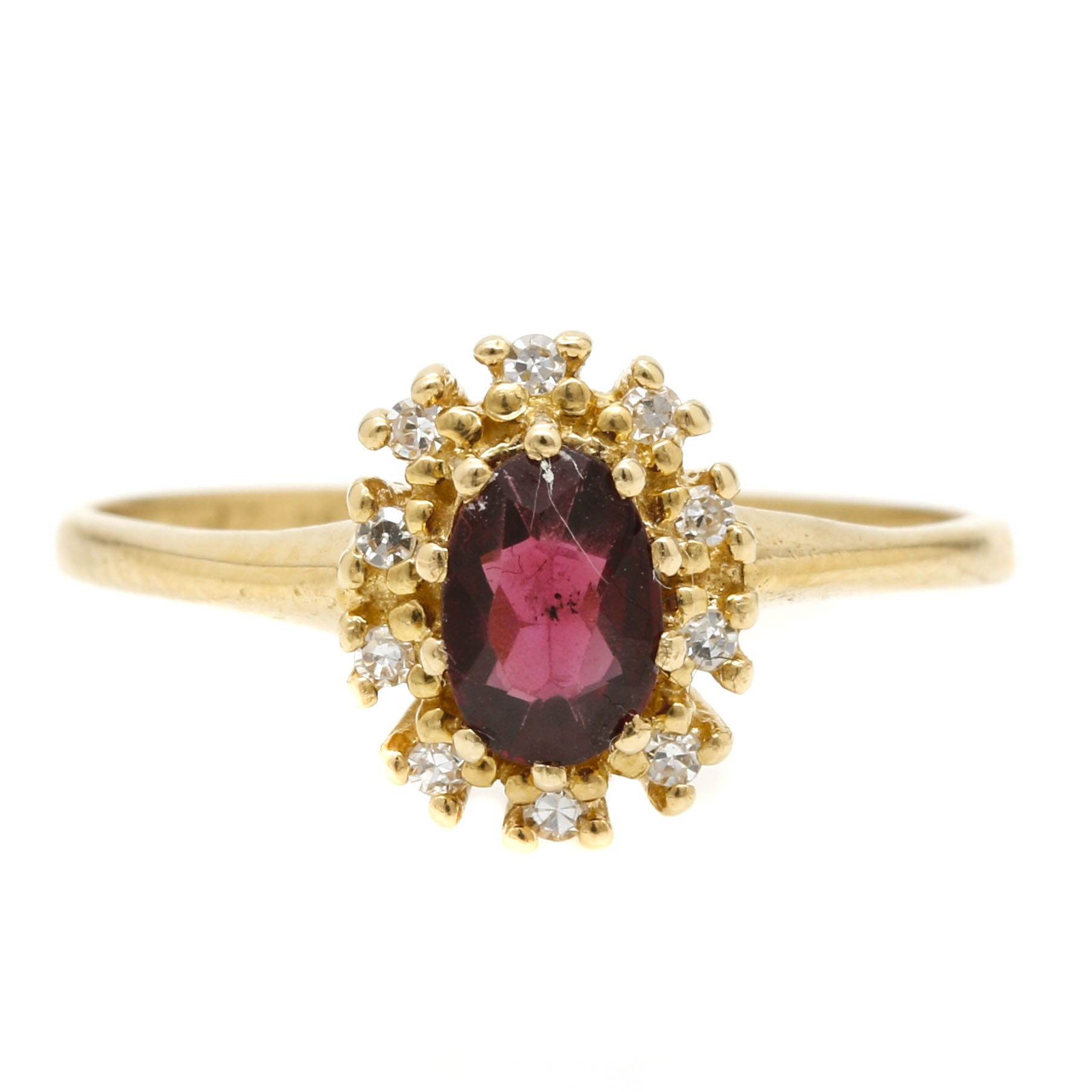18K Yellow Gold Garnet and Diamond Ring