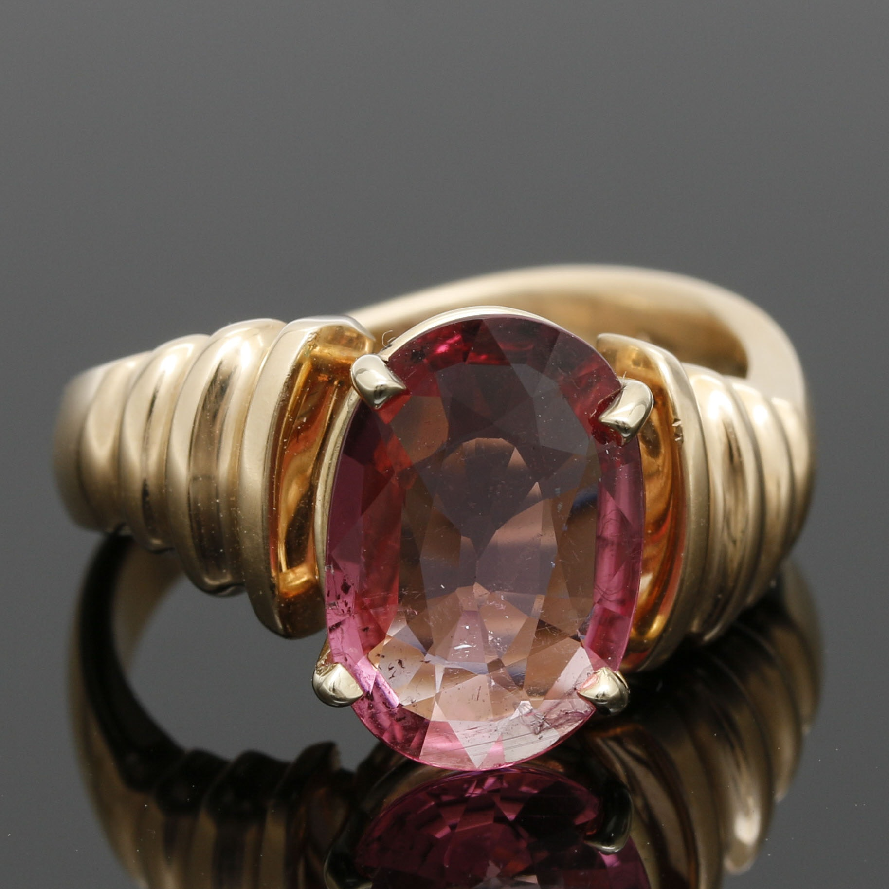 14K Yellow Gold 2.82 CT Pink Tourmaline Ring