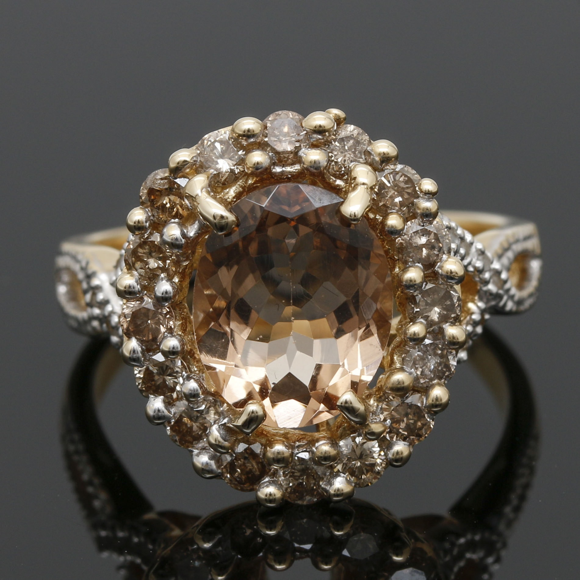14K Yellow Gold Morganite and Diamond Ring