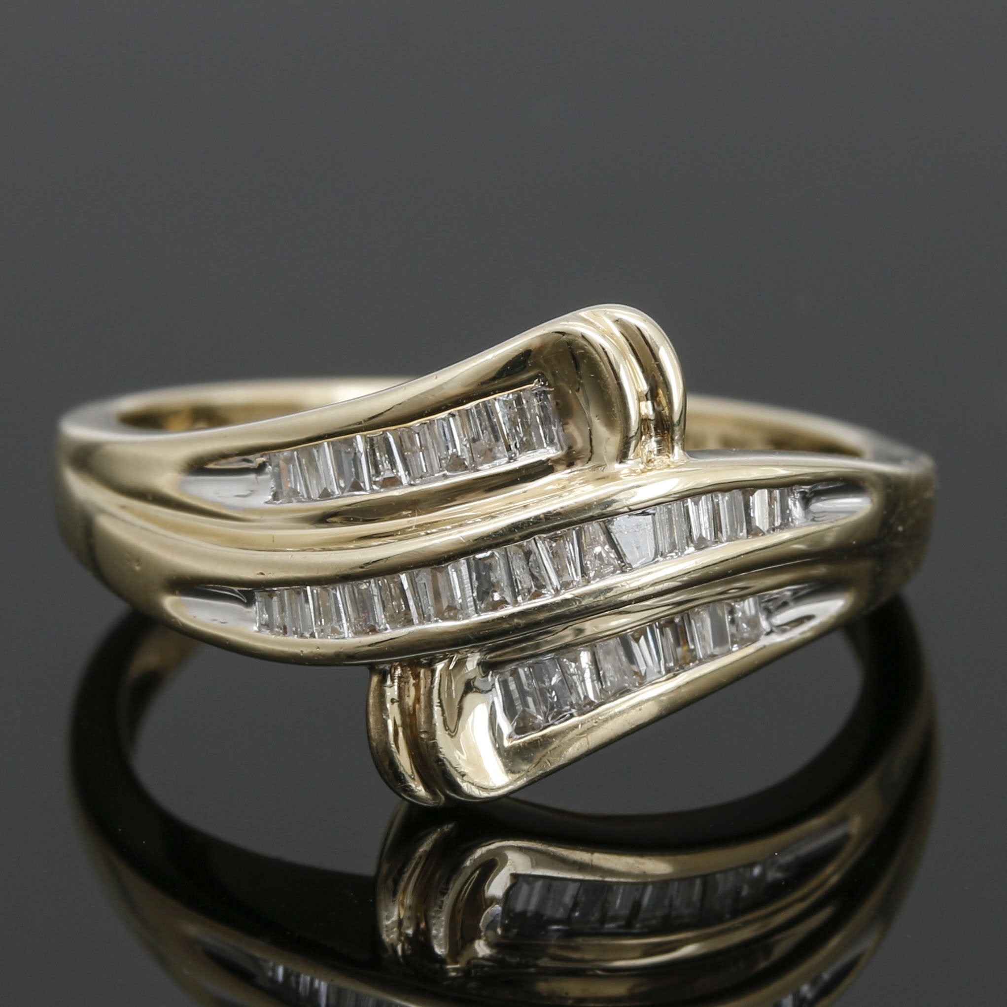 10K Yellow Gold Diamond  Bypass Ring