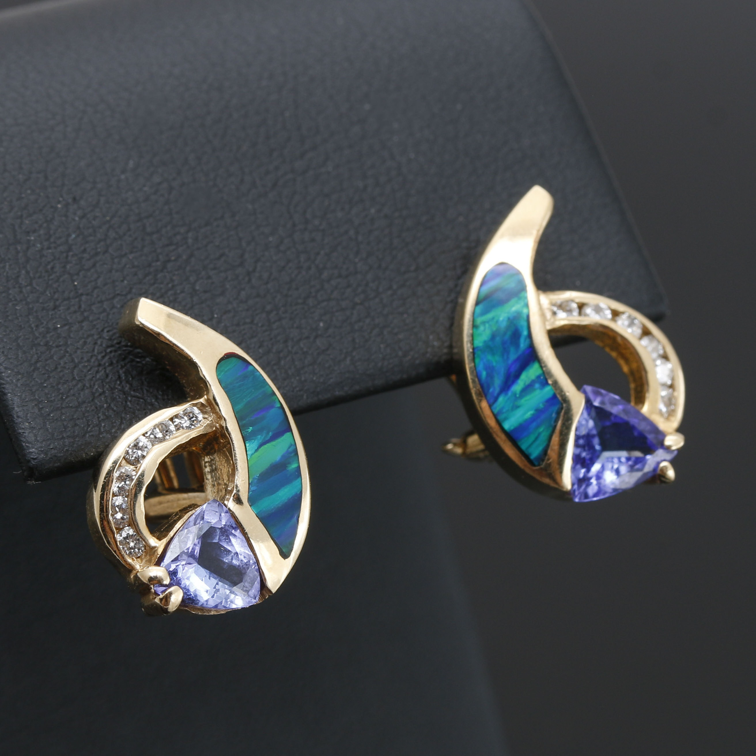 14K Yellow Gold Tanzanite, Opal and Diamond Stud Earrings