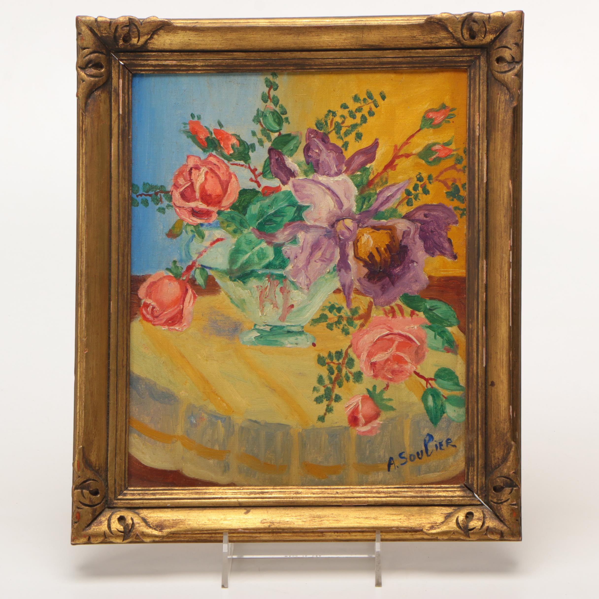A. Soulier Original Oil on Canvas of Floral Still Life