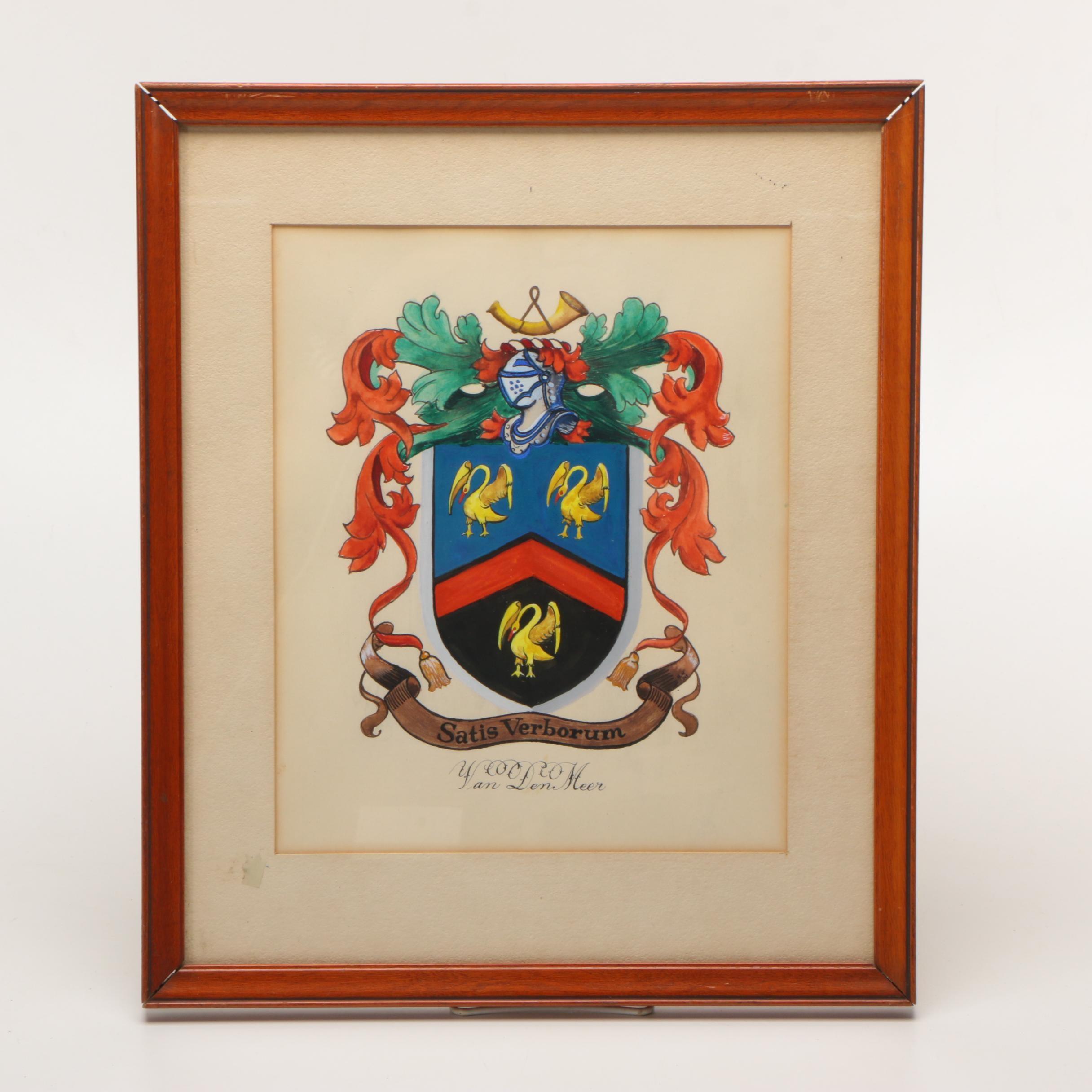 Watercolor and Gouache Painting on Paper of Van Den Meer Family Crest