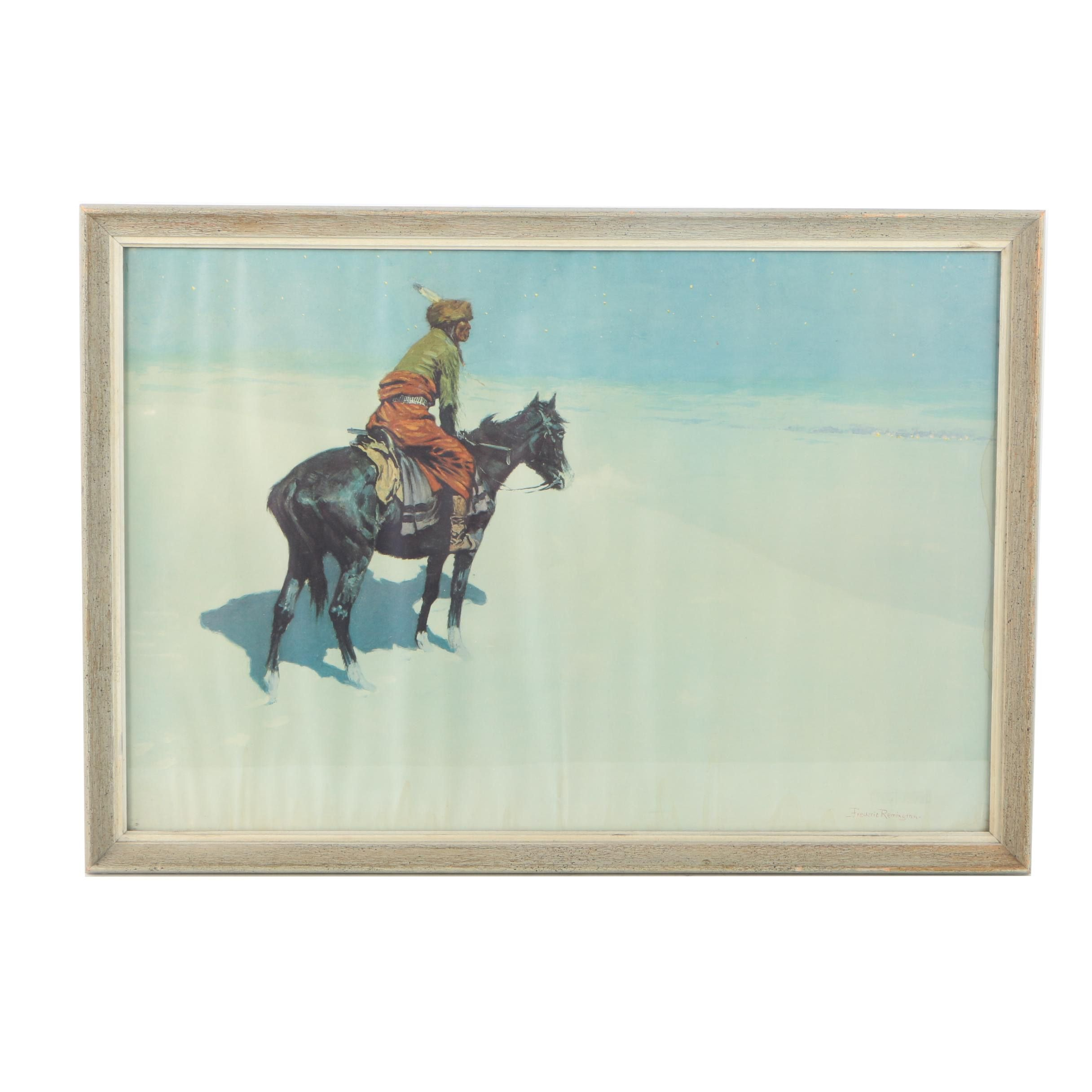 "Lithograph on Paper ""Friends or Foes? (The Scout)"" After Frederic Remington"