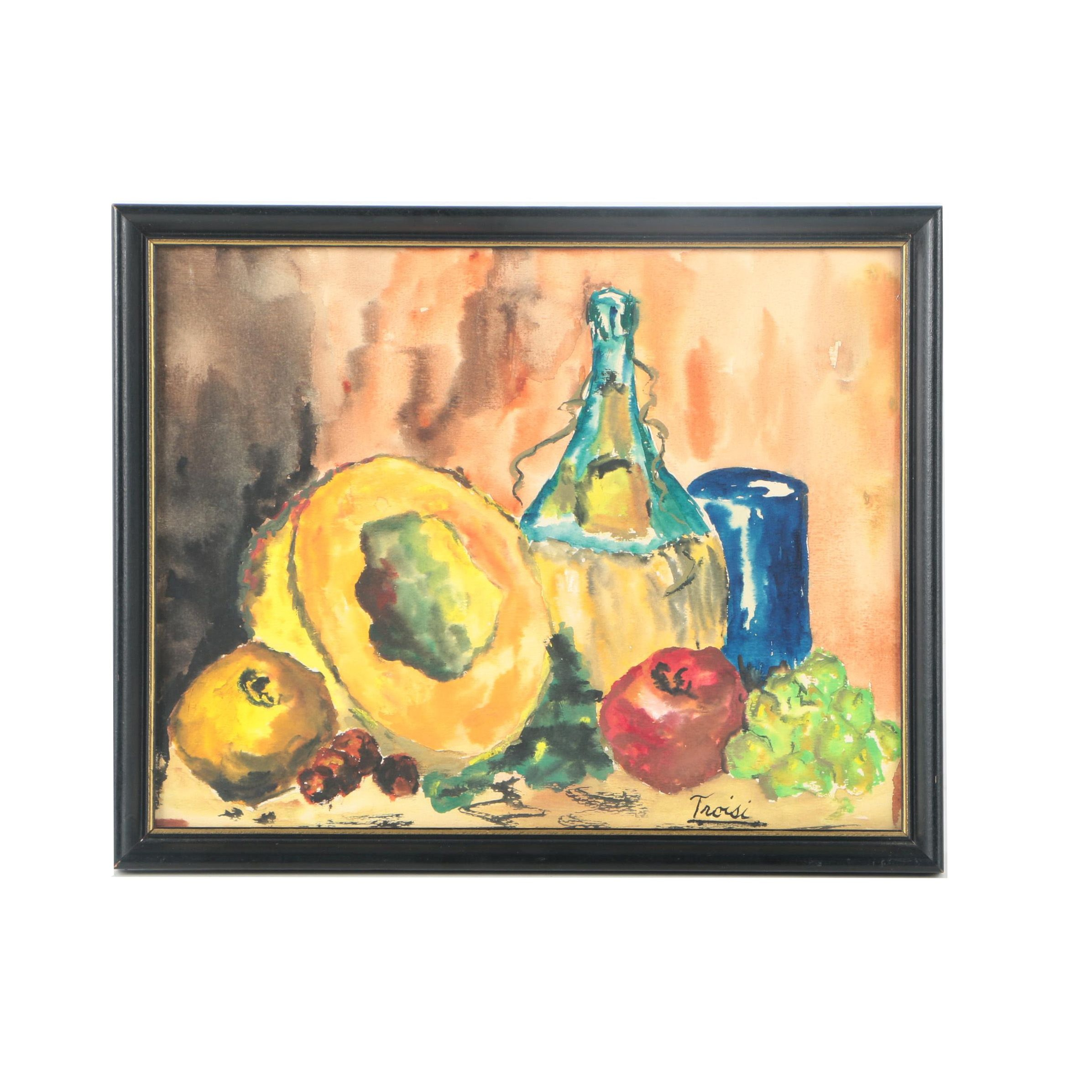 Troisi Watercolor Still Life of Fruit and Wine